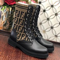 Fendi FF Sexy Lady Martin Boots Knitted Sleeve Colorblock Elastic Boots Medium Boots Motorcycle Boots