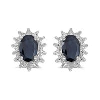 14K White Gold Oval Sapphire and Diamond Earrings  (1.20ct tgw)