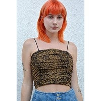 Tawny Leopard Mesh Rouched Top
