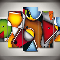 Abstract Horse 5-Piece Wall Art Canvas