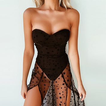 Women's star flocking mesh skirt mid-length wrapped breast skirt sexy backless fake two-piece dress summer
