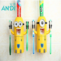 ANDI 2016 Products Cute Minions Design Set Cartoon yellow doll Toothbrush Holder Automatic Toothpaste Dispenser toothpaste