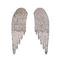 Large Decorative Wood Wall Angel Wings in Distressed Cream by Creative Co-op