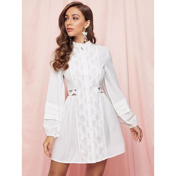 SBetro Embroidered Mesh Insert Lantern Sleeve Shirt Dress