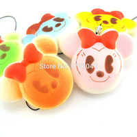 Kawaii Colorful Mickey Mouse Bread Squishy Phone Straps Cartoon Bread Key Chains Toy Gift