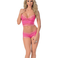 Lace Cami Top W-adjustable Straps & Boy Short Fuchsia Md