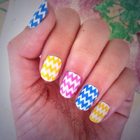 Nail Art Decal Wraps. Pastel Chevron Design Nail Polish Strips.