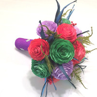 Red, green and purple Mermaid themed bridal bouquet, Disney inspired wedding bouquet using handmade paper Peonies and dried flowers