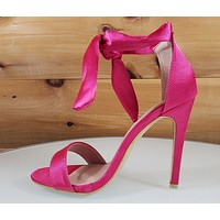 "Top Show Hot Pink Ankle Tie Strap 4 "" High Heel Sandal Shoes"