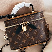 LV New fashion monogram print leather box shape shoulder bag handbag crossbody bag