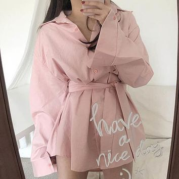 Solid Loose Turn Down Collar Lace Up Full Dresses Women