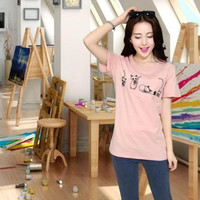 Loose Cotton Short-Sleeved Printed T-Shirt