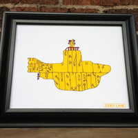 The Beatles - Yellow Submarine - 8x10 Hand Drawn Illustration Print - Kids Song