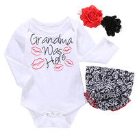 3pcs suit baby girls clothes newborn Girls Infant Kids Letter Printed Romper +Ruffles Pants Flower Headband 3pcs Outfit Set