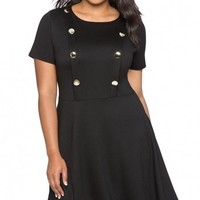 Black Button Front Fit and Flare Plus Size Dress