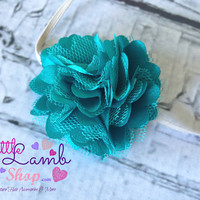Baby Headband, Teal turquoise blue Couture Baby Headband, Baby Hair Band, Flower newborn head band, Newborn photography props, Canada
