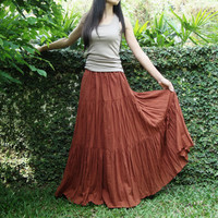 NO.5 Rust Cotton, Hippie Gypsy Boho Tiered Long Peasant Skirt