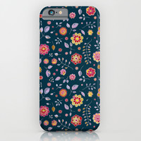 Teal and Brights Flower Pattern Design iPhone & iPod Case by Micklyn