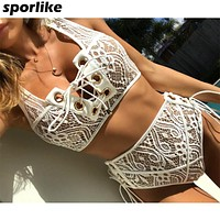 White Lace High Waist Swimsuit Bikini Set  Women Push Up Swimwear