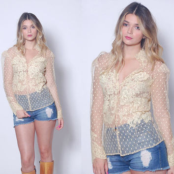 Vintage 70s LACE Blouse Cream Flower & POLKA DOT Sheer Top Victorian Style Blouse