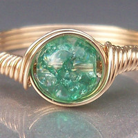 Teal Crackle Glass 14k Gold Filled Wire Wrapped Ring
