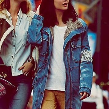 Free People  Rendered Denim Parka at Free People Clothing Boutique