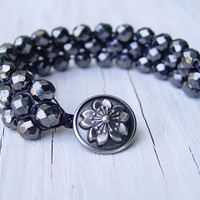 Macrame Black Bracelet Cuff, Czech Fire Polished Glass Beads, Cherry Blossom, Gifts under 40, Mothers Day, Prom, Teens