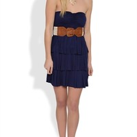 Strapless Dress with Triple Tiered Skirt and Crochet Belt