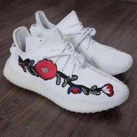 Adidas Yeezy 350 V2 Fashion Rose Embroidery Running Sport Shoes Sneakers Shoes