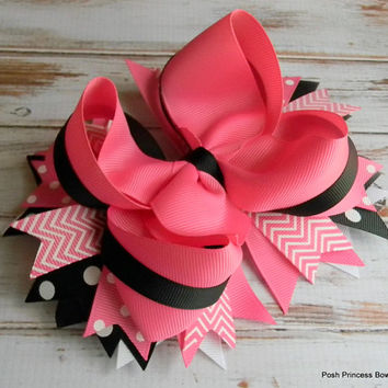 Girls hair bows Hair bow for baby toddler little girls Hot pink black Stacked Hair Bow Big hair bows