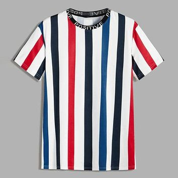 Fashion Casual Men Letter Tape Neck Striped Tee