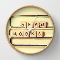 Read Books Wall Clock by Olivia Joy StClaire
