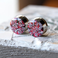 "3/4"" Plugs, Polymer Clay Ear Plugs, Unique Gauges, Fashion Plugs, Double Flare, Stretched Ears - size 3/4"" (19mm)"