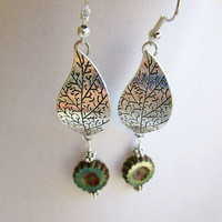 Grooved Silver Leaves & Teal Czech Glass Flower Long Dangle Earrings, Earthy Boho Earrings
