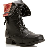 Black Lace Up Back Zipper Combat Boots