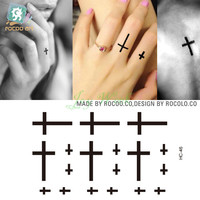 Waterproof Temporary Tattoo Sticker small cross tattoo on finger water transfer flash tattoo fake tattoo for girl women men