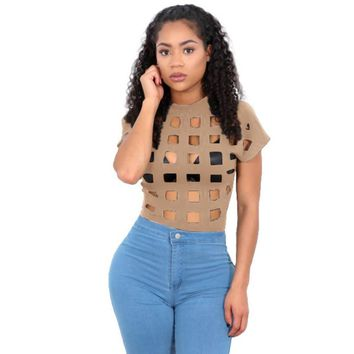 Sexy Hollow Out T shirt 2017 Women's Summer Bandage Party Cocktail Club Tops Shirt Tee 6 Colors feminina shirts