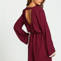 Burgundy Tassel Bell Woven Dress
