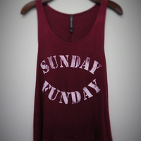 BURGUNDY SUNDAY FUNDAY Graphic tank top