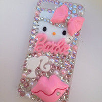 Pretty in Pink Hello Kitty & Barbie Crystallised Sparkly Bling iPhone 5 Cell Phone Case