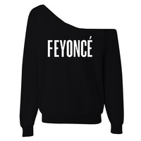 FEYONCE' Off-The-Shoulder Wide Neck Slouchy Sweatshirt
