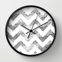 Silver Glittery Chevron Pattern Wall Clock by Pink Berry Pattern | Society6