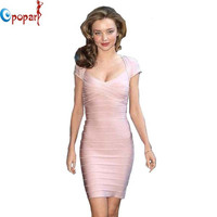 Women elegant cap sleeve bandage dress sexy club dress short dresses 2016 mini celebrity pink party dress dropshipping HL1315