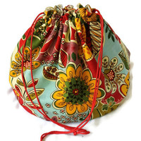 Bright Flowered Girl's Toy Bag Red Yellow Brown Red Green Aqua Cream Extra-Large Bag Homeschool Travel Laundry Tote -- US Shipping Included