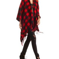 Red & Black Checked Fringe Poncho by Charlotte Russe - Red Combo