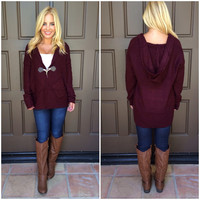 Langdon Thick Knit Cardigan - WINE