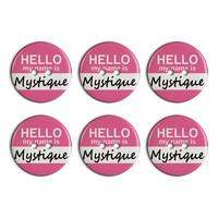 Mystique Hello My Name Is Plastic Resin Button Set of 6