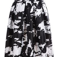 White and Black Print Pleated Skirt