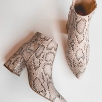 Night Moves Snake Booties (Taupe)