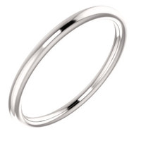 14K White Wedding Band